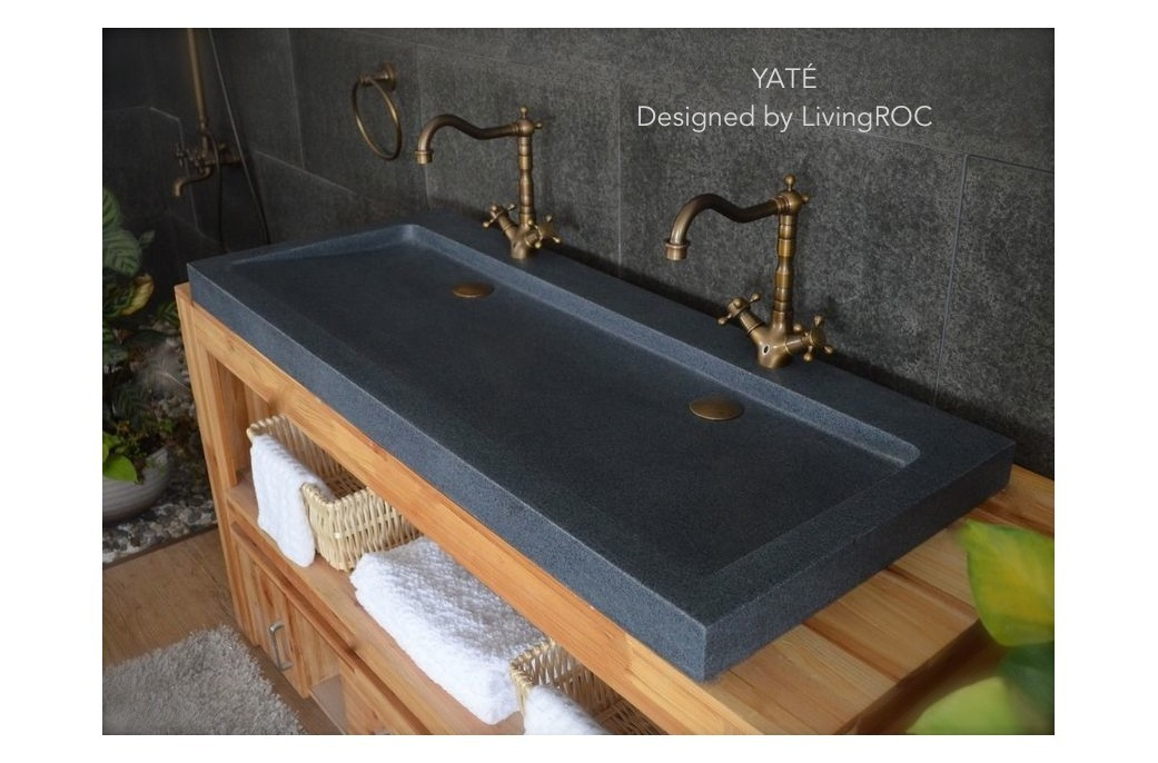1200mm double trough grey granite stone bathroom basin yat - Lavabo double vasque retro ...