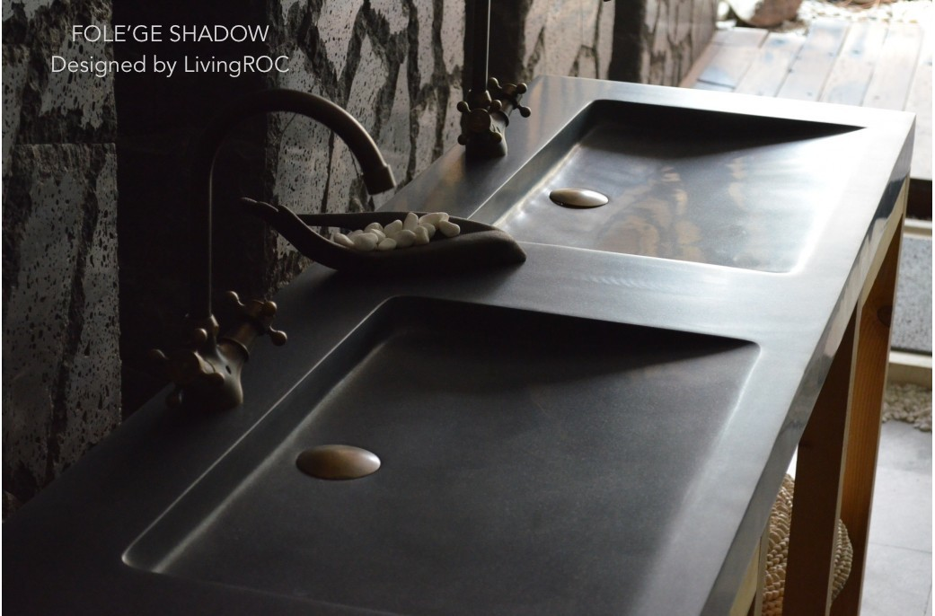 1600mm Double basins trough Sink Wet Room Black Granite FOLEGE SHADOW