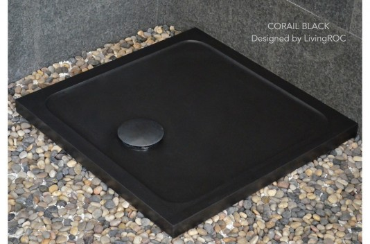 800x800mm Black Granite Stone Shower Tray CORAL BLACK
