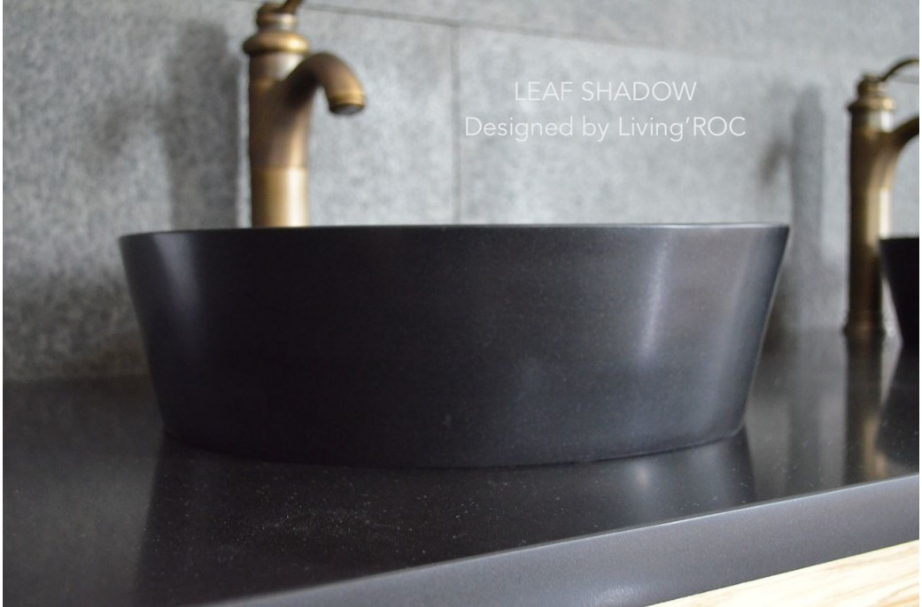 Round Granite Sink : 400mm Round Stone Black Granite Bathroom Basin - LEAF SHADOW
