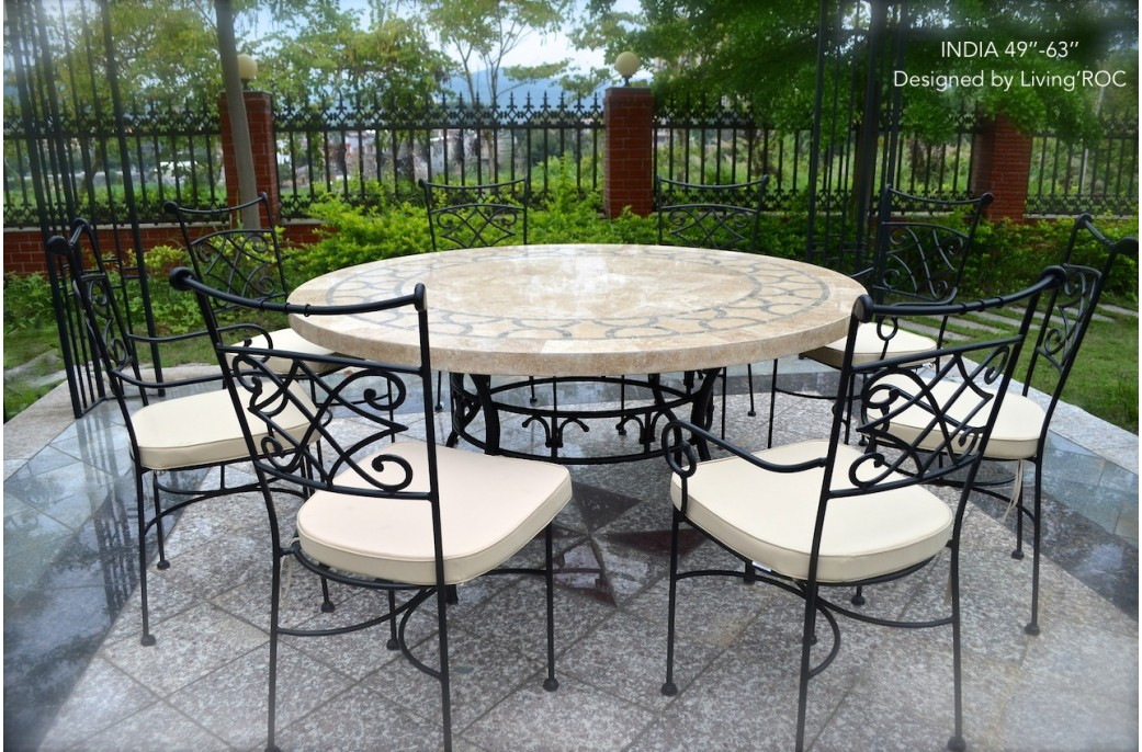 60cm Outdoor Garden Round Mosaic Stone Marble Dining Table
