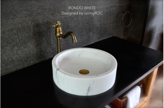 400mm Round Marble Stone Bathroom Vessel Basin RONDO WHITE