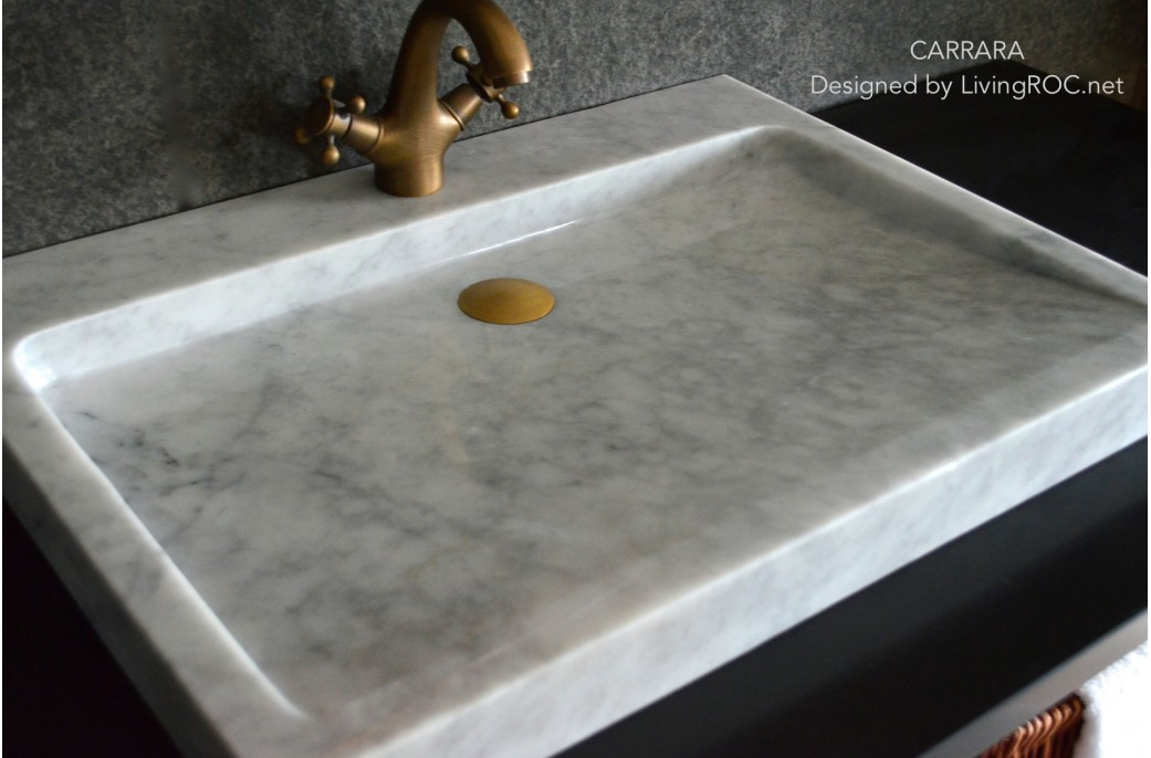 700mm White Marble bathroom Trough Sink CARRARA