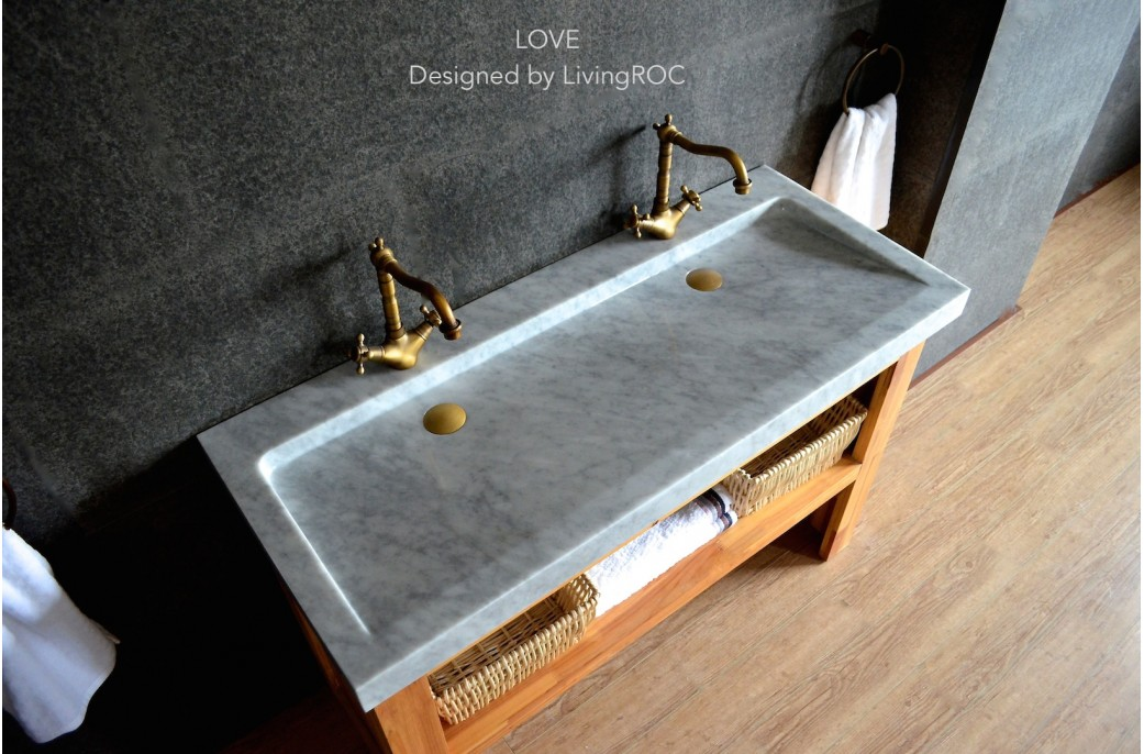 Marble Sinks Bathroom : 1200mm Double Trough Carrara Marble Bathroom Basin YATE WHITE- ?1,099 ...