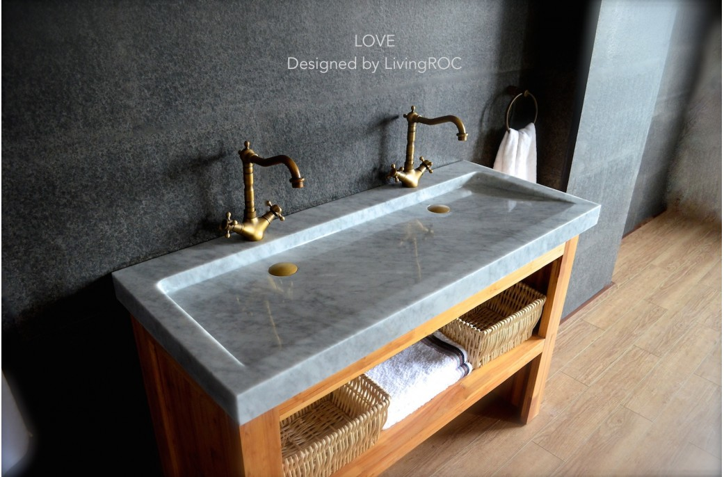 Twin Bathroom Sinks : 1200mm Double Trough Carrara white Marble Bathroom Sink - LOVE