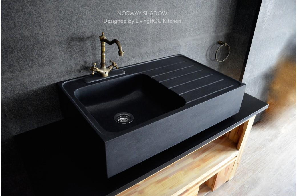 Stone Kitchen Sinks Uk : 900mm Black Granite Stone Kitchen Sink - NORWAY SHADOW- ?899.00 ?