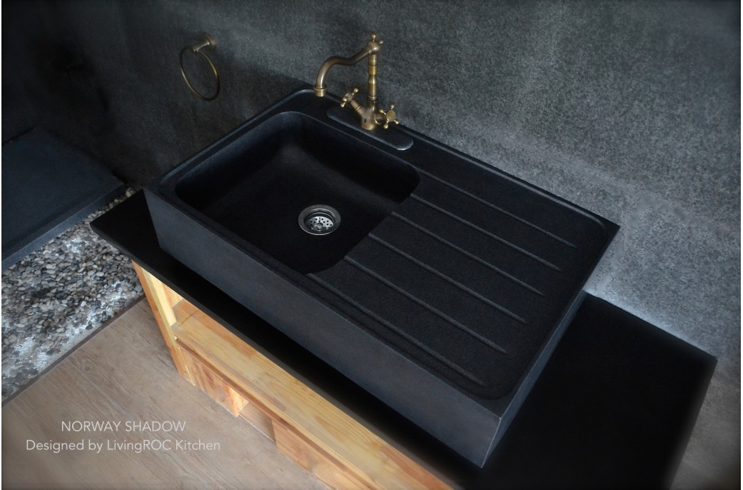 Stone Kitchen Sinks Uk : 900mm Black Granite Stone Kitchen Sink - NORWAY SHADOW