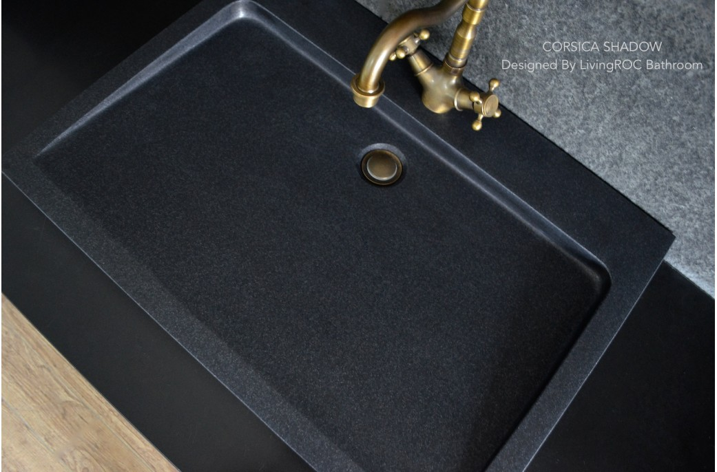 Black Bathroom Basin : 700mm Black Granite Stone Single Trough Bathroom Basin - CORSICA ...