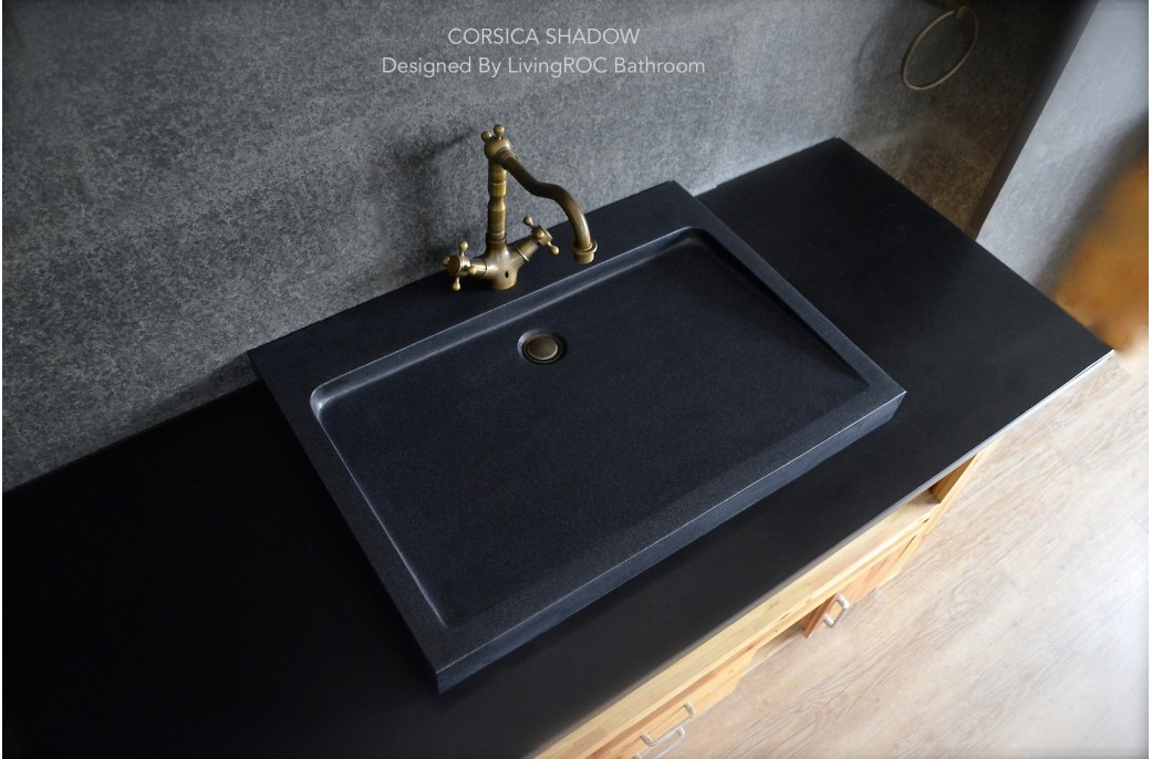 700mm Black Granite Stone Trough Bathroom Basin - CORSICA SHADOW