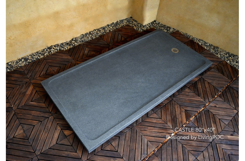 200x100 Large Granite Stone Shower Tray Trendy Grey - CASTLE