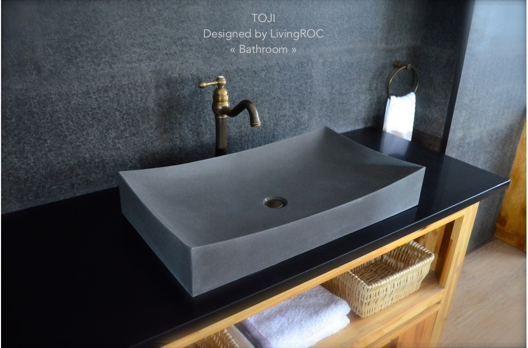 Stone Basin Bathroom : 700mm Grey Basalt Stone Bathroom Wash Basin Sink - TOJI- ?319.00 ?