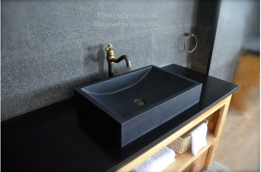 600mm Pure Black Stone Granite Bathroom Basin - TORRENCE SHADOW
