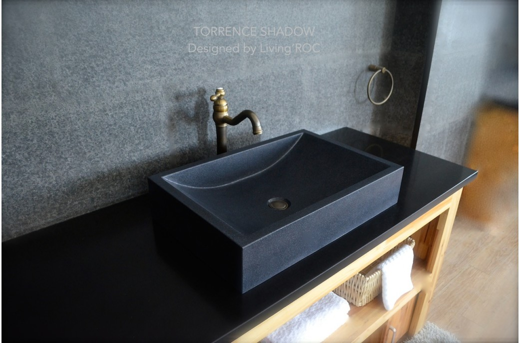 Black Bathroom Basin : 60x40 Shanxi Black Granite Bathroom Basin Sink Honed Finish - TORRENCE ...