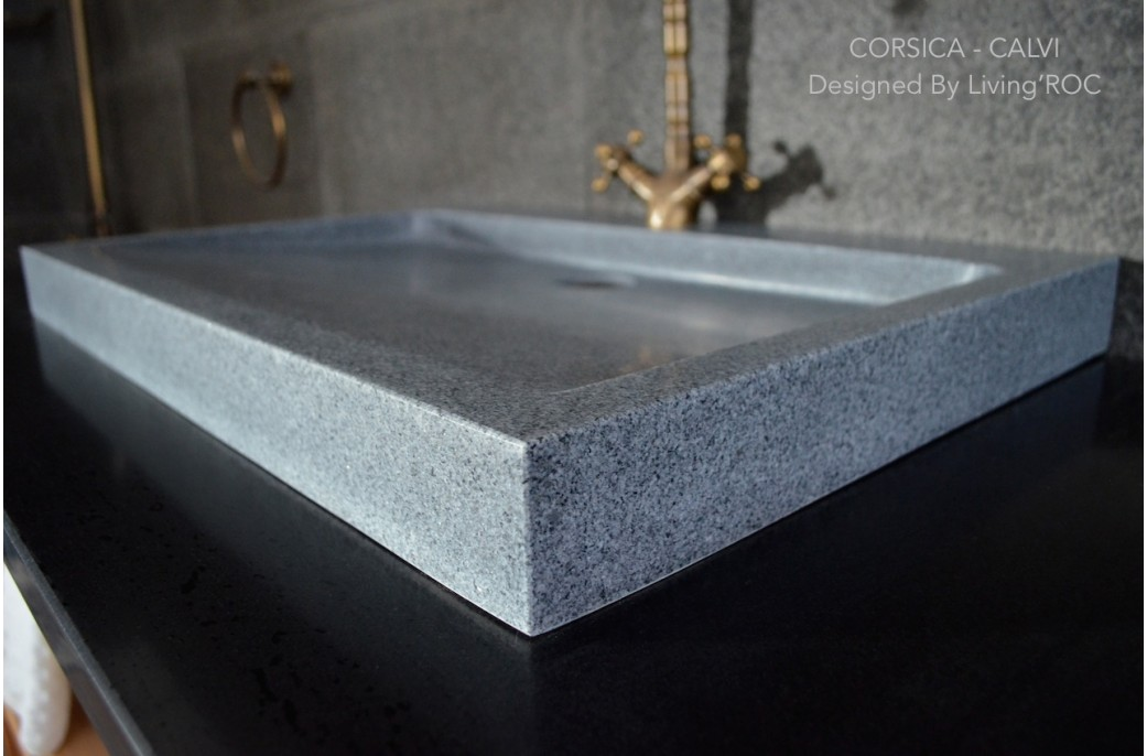 27 Quot Gray Granite Stone Trough Bathroom Sink Corsica