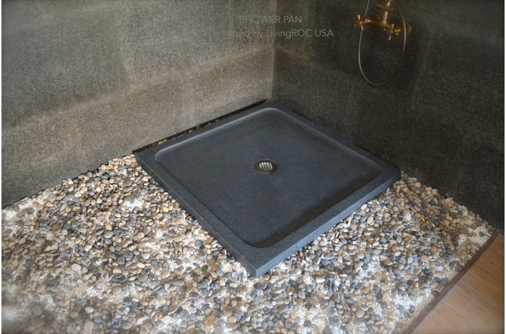 800 X 800mm Shower Tray Grey Granite Stone Coral