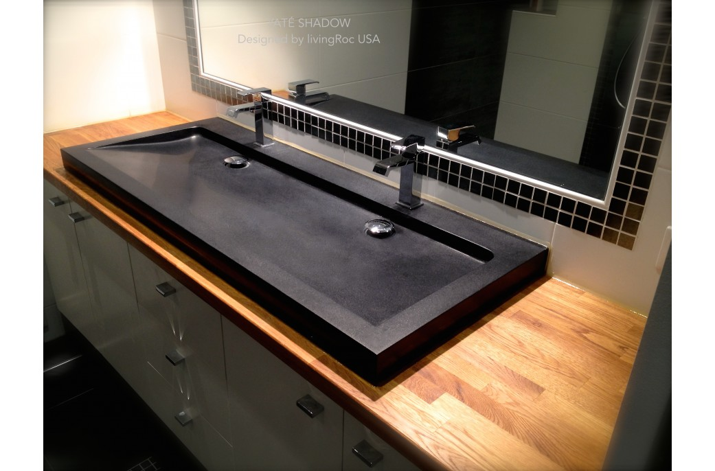 1200mm black granite double trough bathroom sink yat shadow for Double basin bathroom sinks