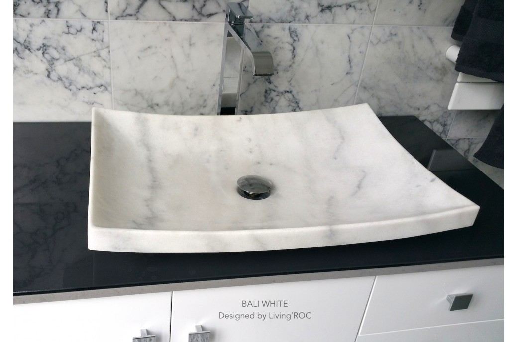 600x400mm White Marble Stone Vessel Basin Bali White