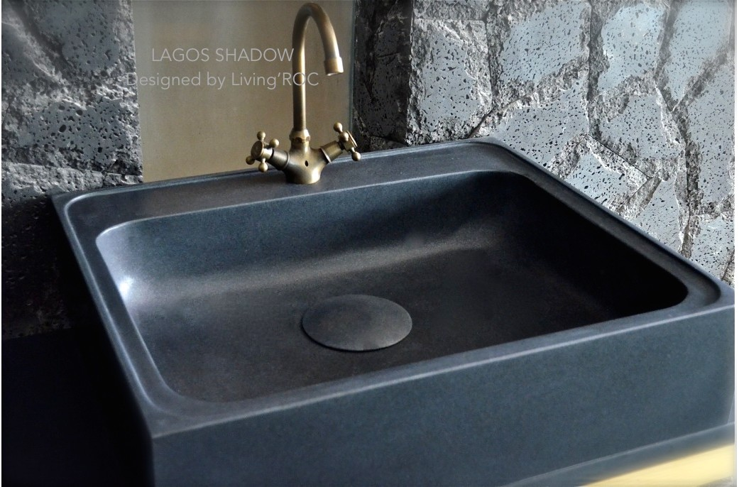 Stone Kitchen Sinks Uk : 700mm Pure Black Granite Stone Kitchen Sink - LAGOS SHADOW