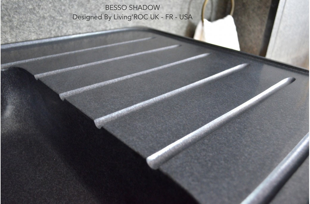 High Quality Double Bowls Black Granite Kitchen Sink Besso Shadow