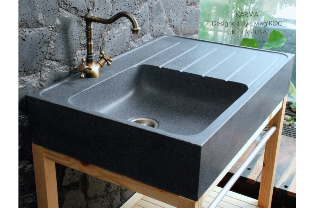 Stone Kitchen Sinks Uk : 90x60cm Genuine Grey Granite Stone Kitchen Sink - NORWAY