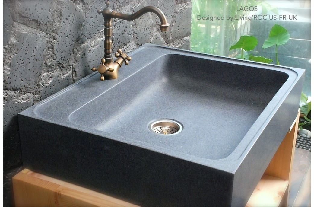 700x600 grey granite stone kitchen sink lagos - Evier exterieur en pierre ...