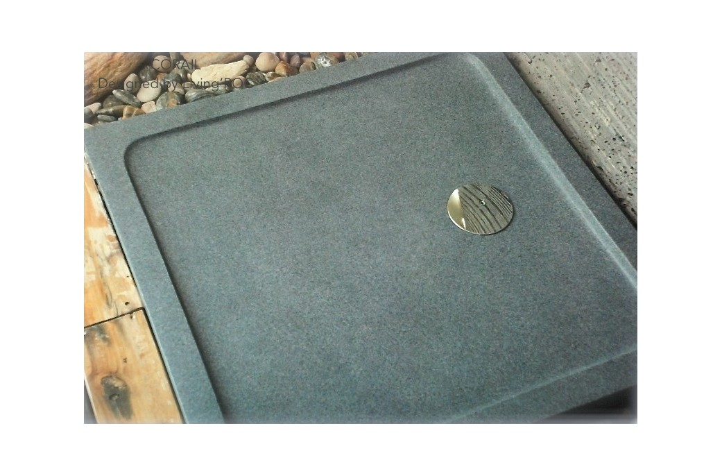 800 x 800mm Stone Shower Tray in Grey Granite - CORAL