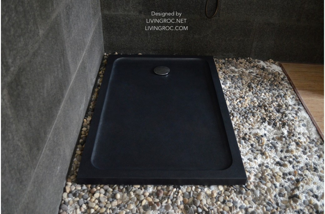 1200 X 900 Black Granite Stone Shower Tray Rubix Shadow