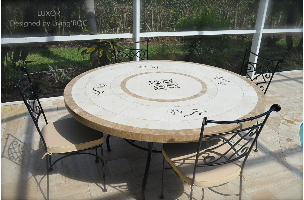 170cm round outdoor garden marble mosaic dining table luxor. Black Bedroom Furniture Sets. Home Design Ideas