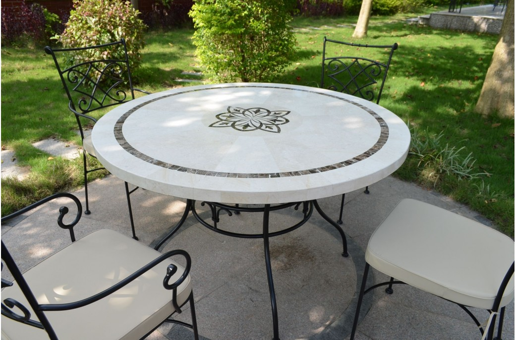 125 160cm outdoor garden round mosaic marble stone table marbella - Table de jardin en mosaique ...