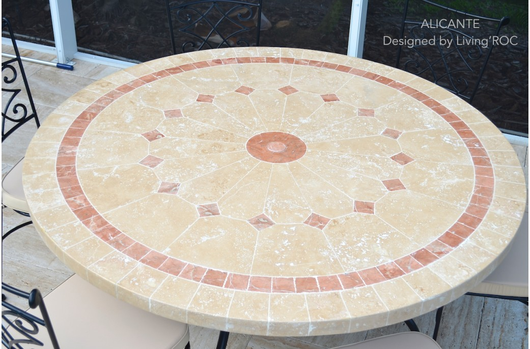 125 160cm outdoor mosaic round table natural stone top alicante. Black Bedroom Furniture Sets. Home Design Ideas