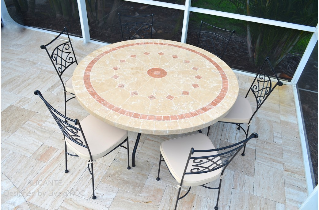 125 amp 160cm outdoor garden patio round mosaic marble dining