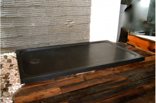 1400x1000 Black Granite Shower Tray Bathroom - PALM SHADOW