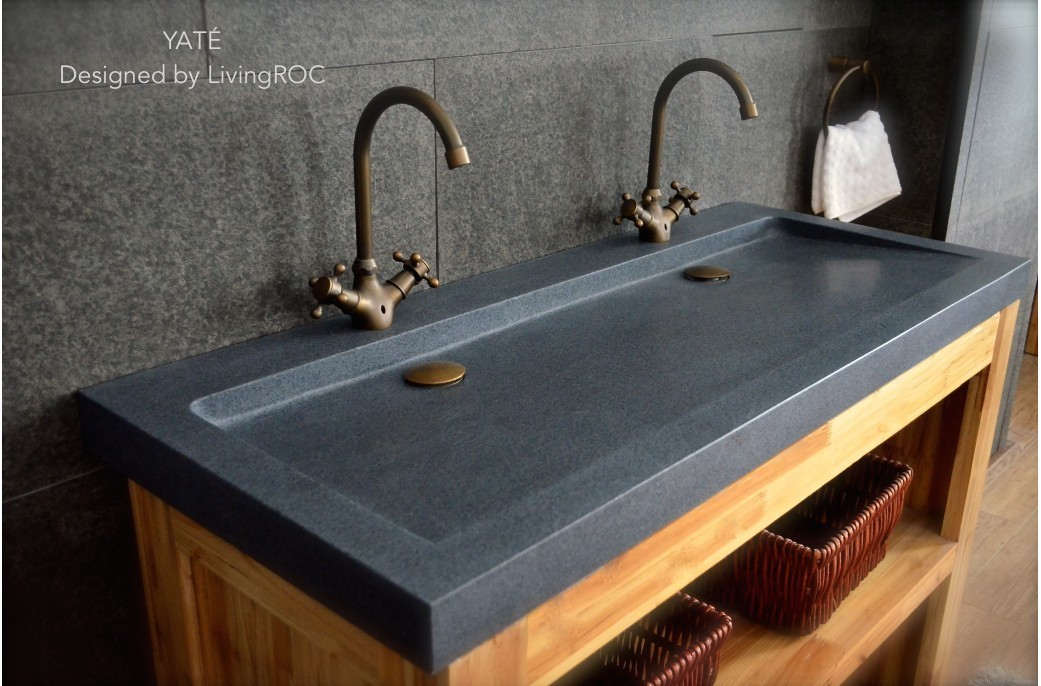 Stone Basin Bathroom : 1400mm Double Trendy Trough Grey Granite Bathroom Basin LOVE