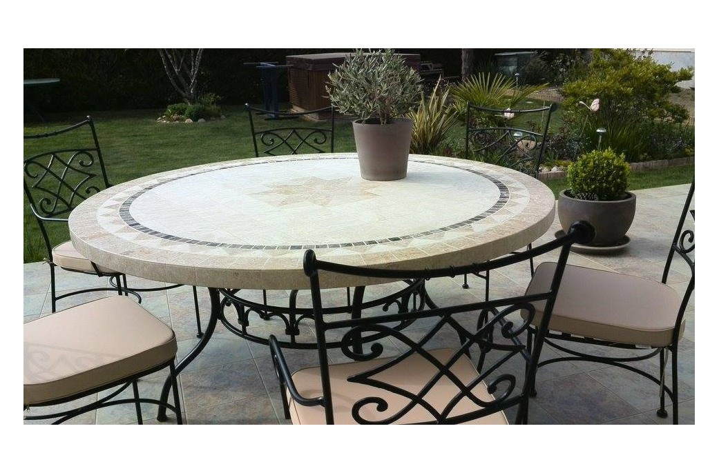 125 160cm outdoor garden round mosaic stone marble dining for Stone dining table