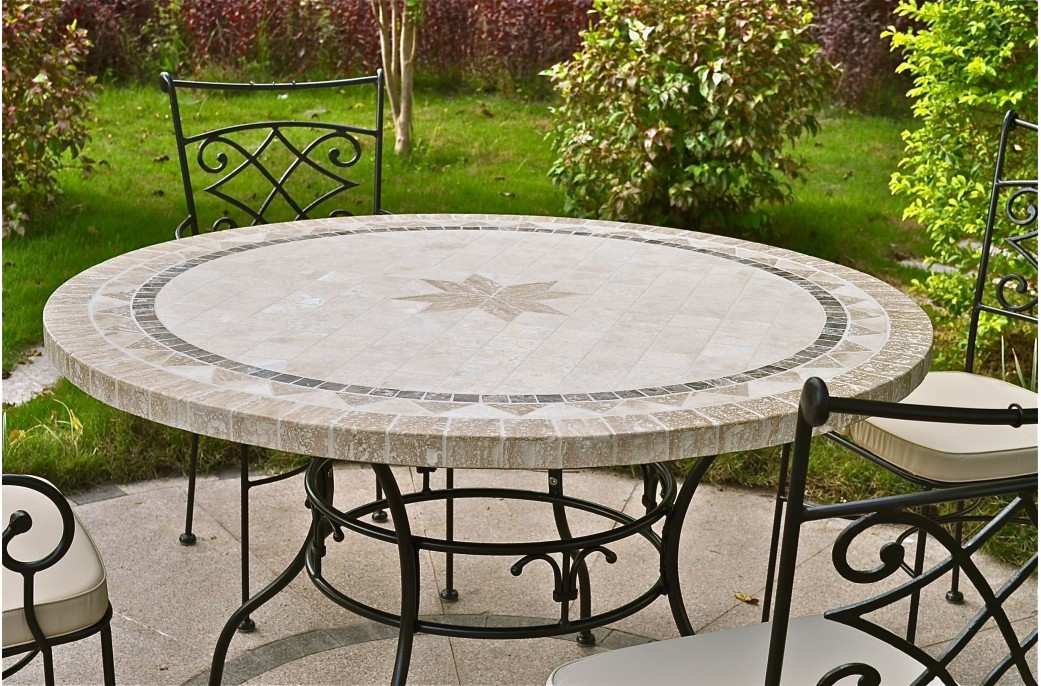 125 160cm outdoor garden round mosaic stone marble dining table mexico - Table exterieur ronde ...
