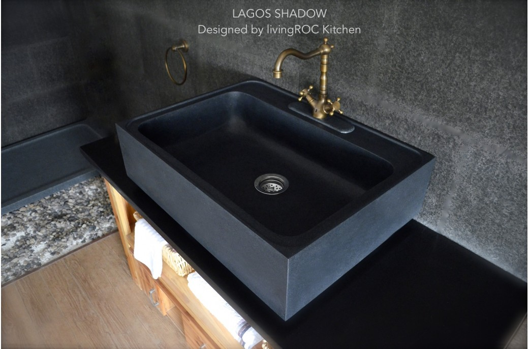 Stone Kitchen Sinks Uk : 760mm Pure Black Granite Stone Kitchen Sink LAGOS SHADOW PLUS