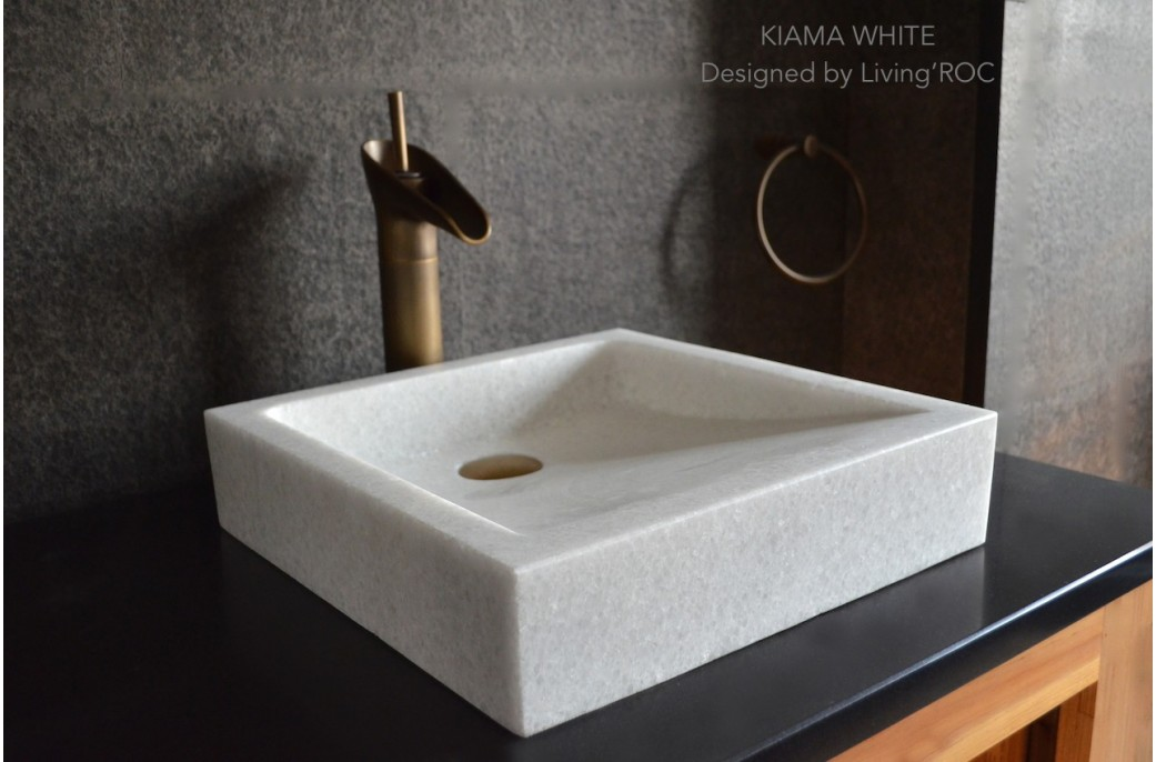 Marble Sink : 400mm Crystal White Marble Basin Bathroom Stone KIAMA WHITE