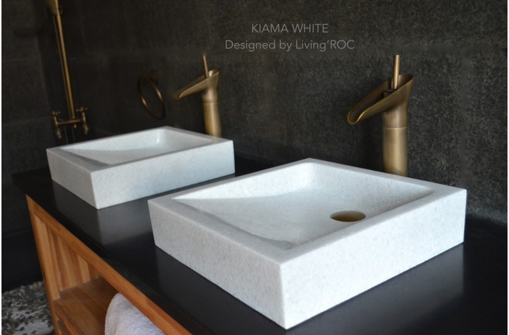Marble Sink : 400mm Crystal White Marble Basin Bathroom Stone KIAMA WHITE- ?299.00 ...