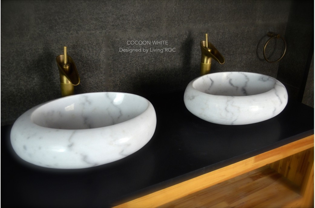 Stone Basin Sink : 500mm Oval White Marble Stone Wet Room Wash Basin Sink COCOON WHITE