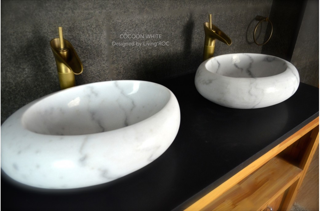 White Marble Gemstone : Mm oval white marble stone wet room wash basin sink