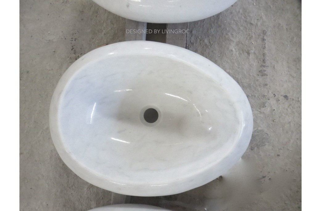500mm Oval White Marble Stone Wet Room Wash Basin Sink COCOON WHITE