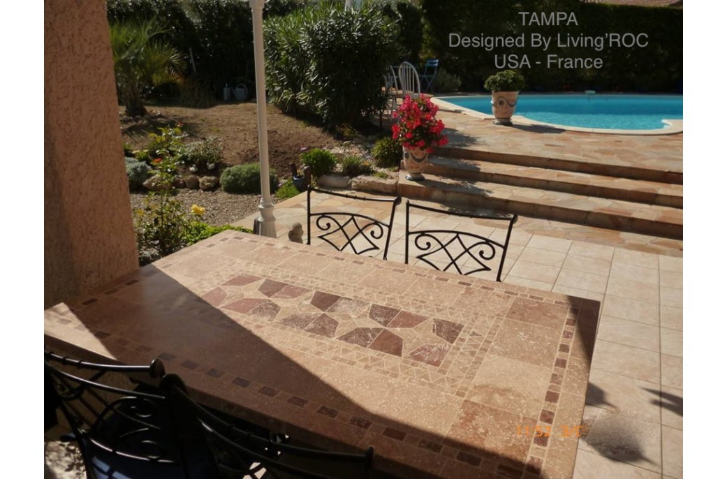 200 240cm mosaic natural stone marble dining table wrought iron tampa