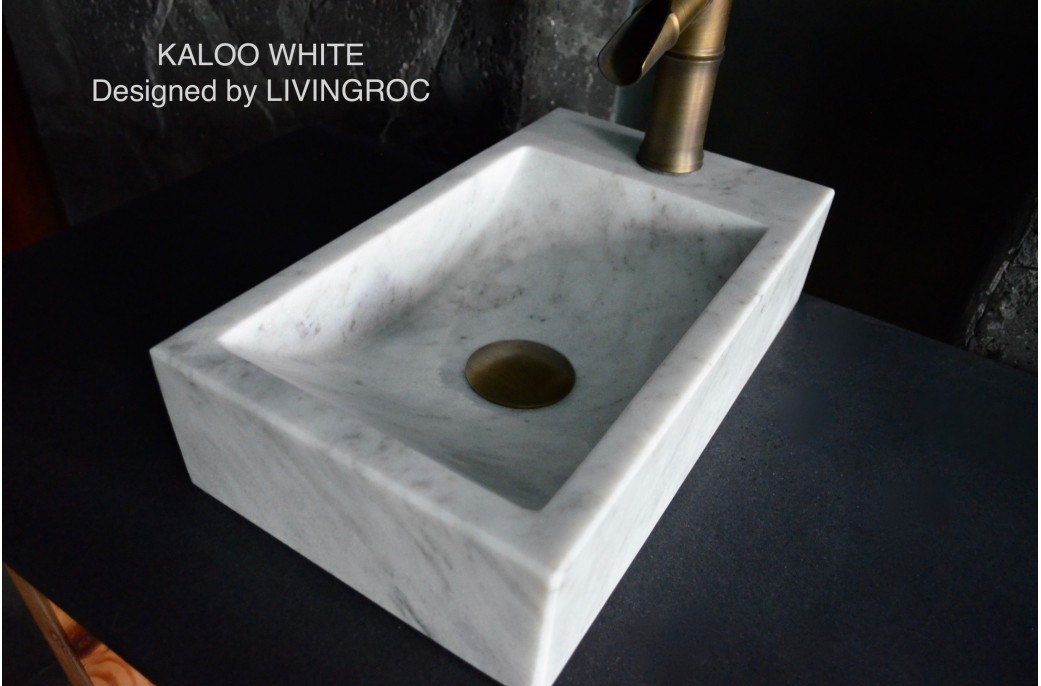 400mm White Marble Wash-hands Stone Basin KALOO WHITE