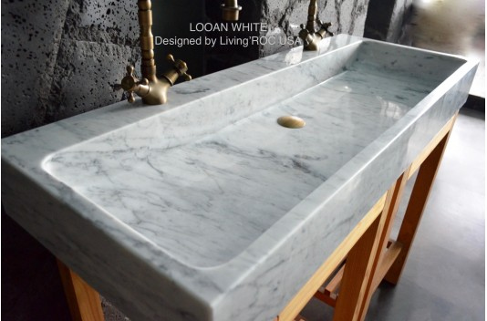 120x46 Bathroom Double Sinks White Carrara Marble Stone Trough Style ESTEL WHITE